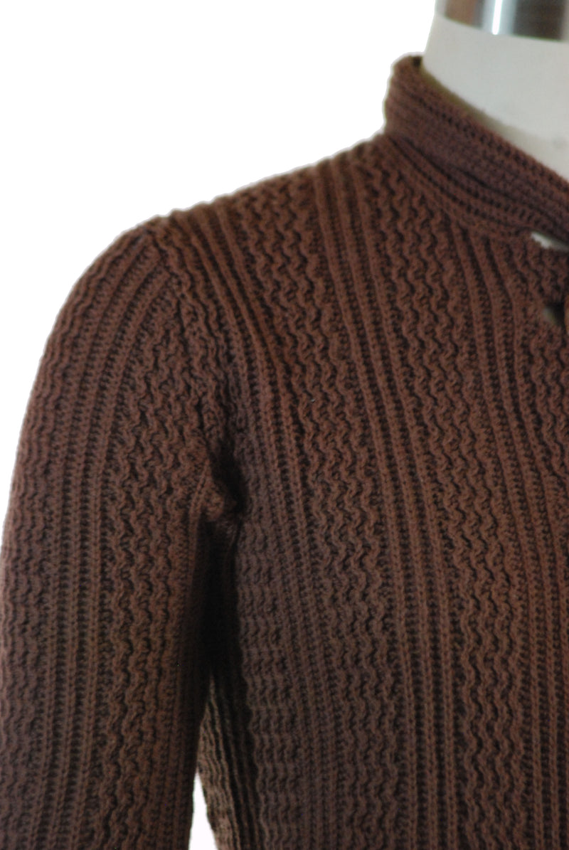 Adorable 1940s or Late 30s Sweater with Attached Scarf and Cute Dried Walnut Husk Buttons