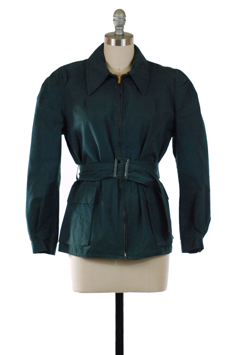Sporty 1940s Jacket in Deep Forest Green with Warm Lining