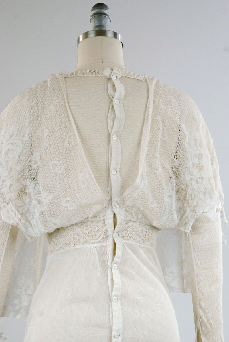 Delicate 1910s Sheer Net and Tiered Lace Summer Gown or Lawn Dress