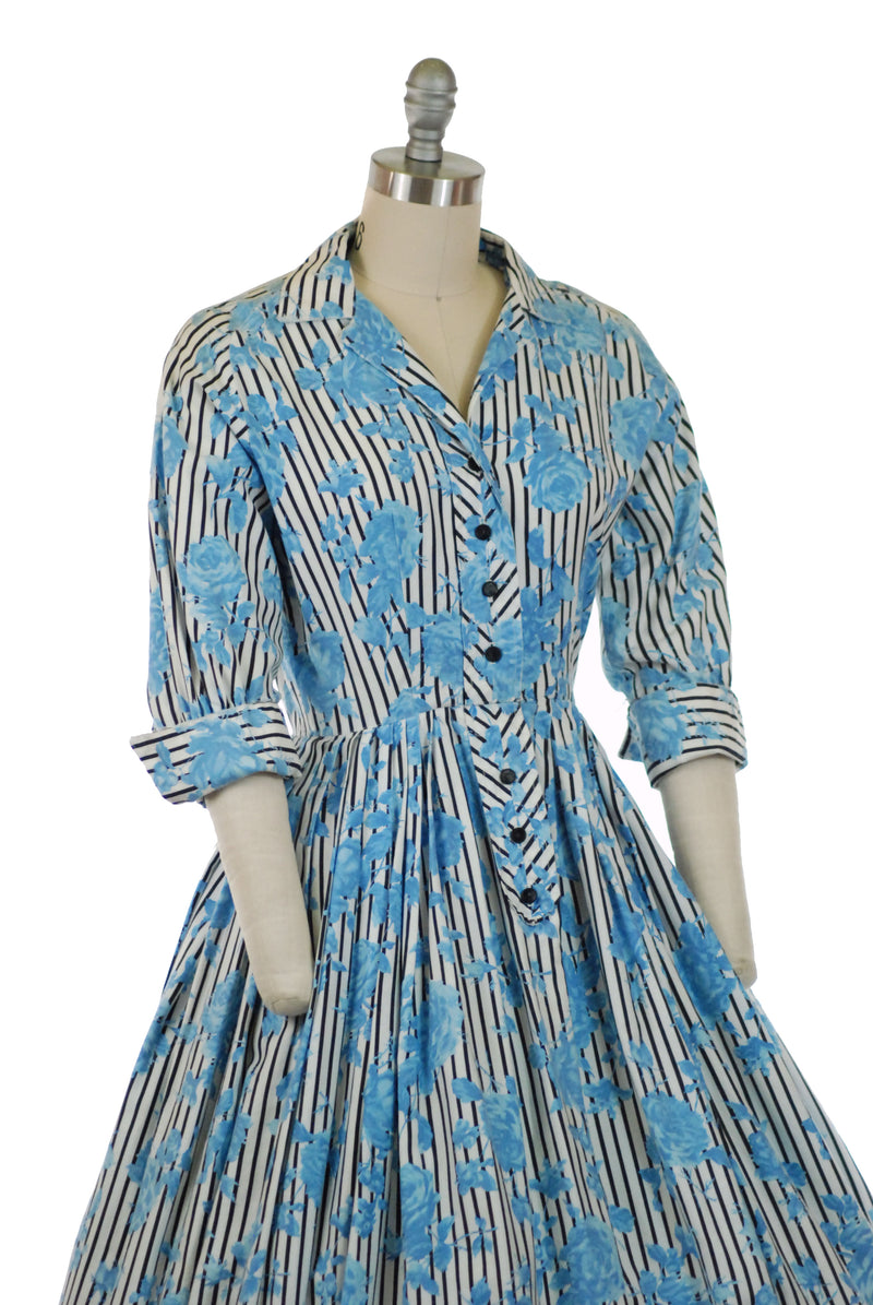 Fresh 1950s Cotton Shirtwaist Dress with Print of Blue Roses Against Black Stripes by Abby-Kent