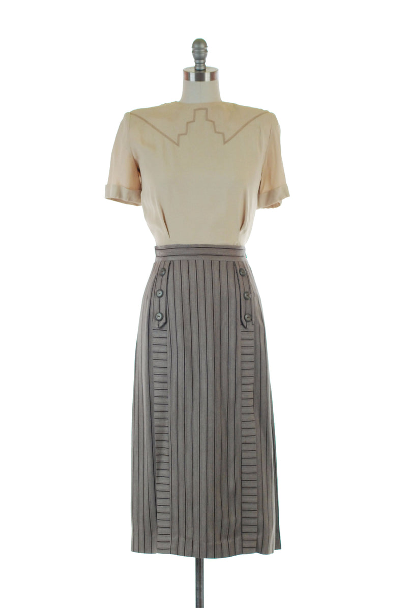 Fantastic Late 40s Striped Rayon Gabardine Skirt with Button Accents