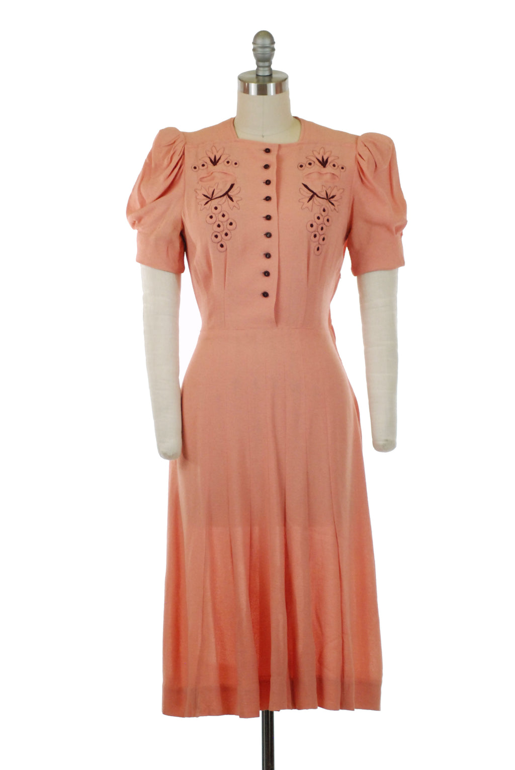 Exquisite Late 1930s Puffed Sleeve Dream Dress in Highly Textured Crepe with Trapunto and Burgundy Embroidery