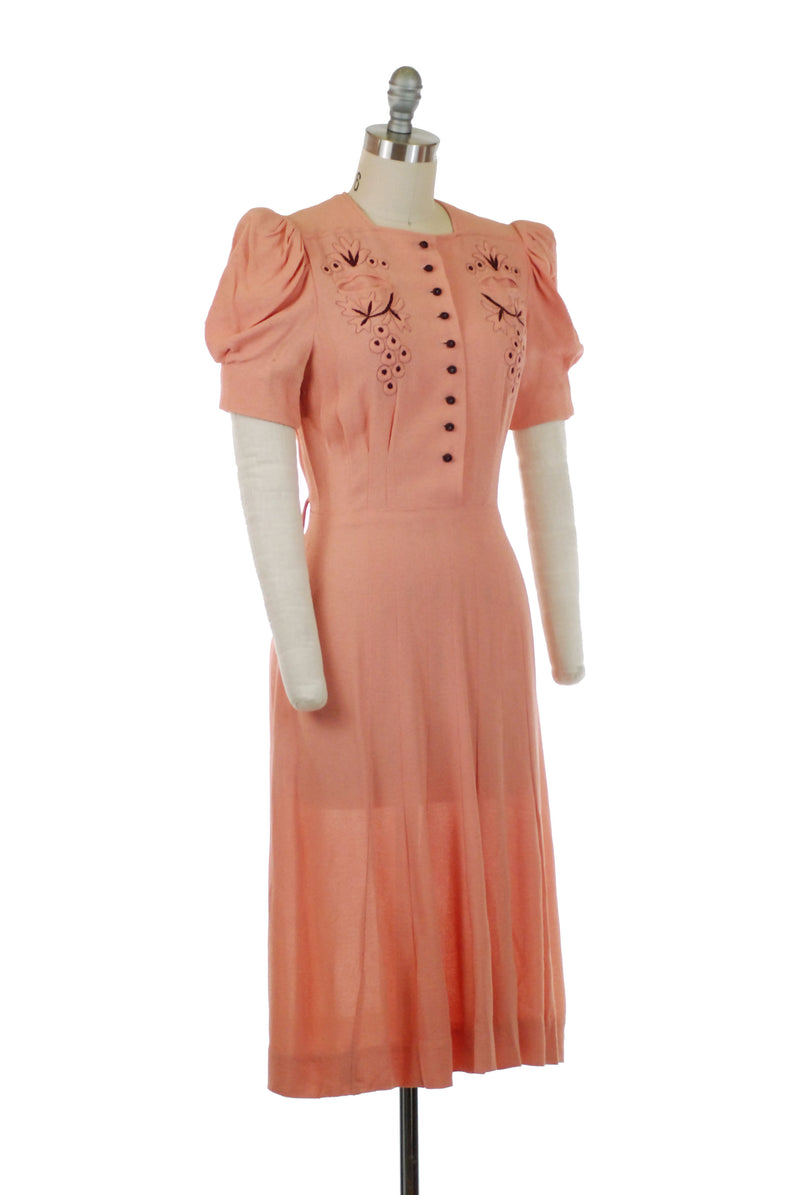 Layaway Deposit for Exquisite Late 1930s Puffed Sleeve Dream Dress in Highly Textured Crepe with Trapunto and Burgundy Embroidery