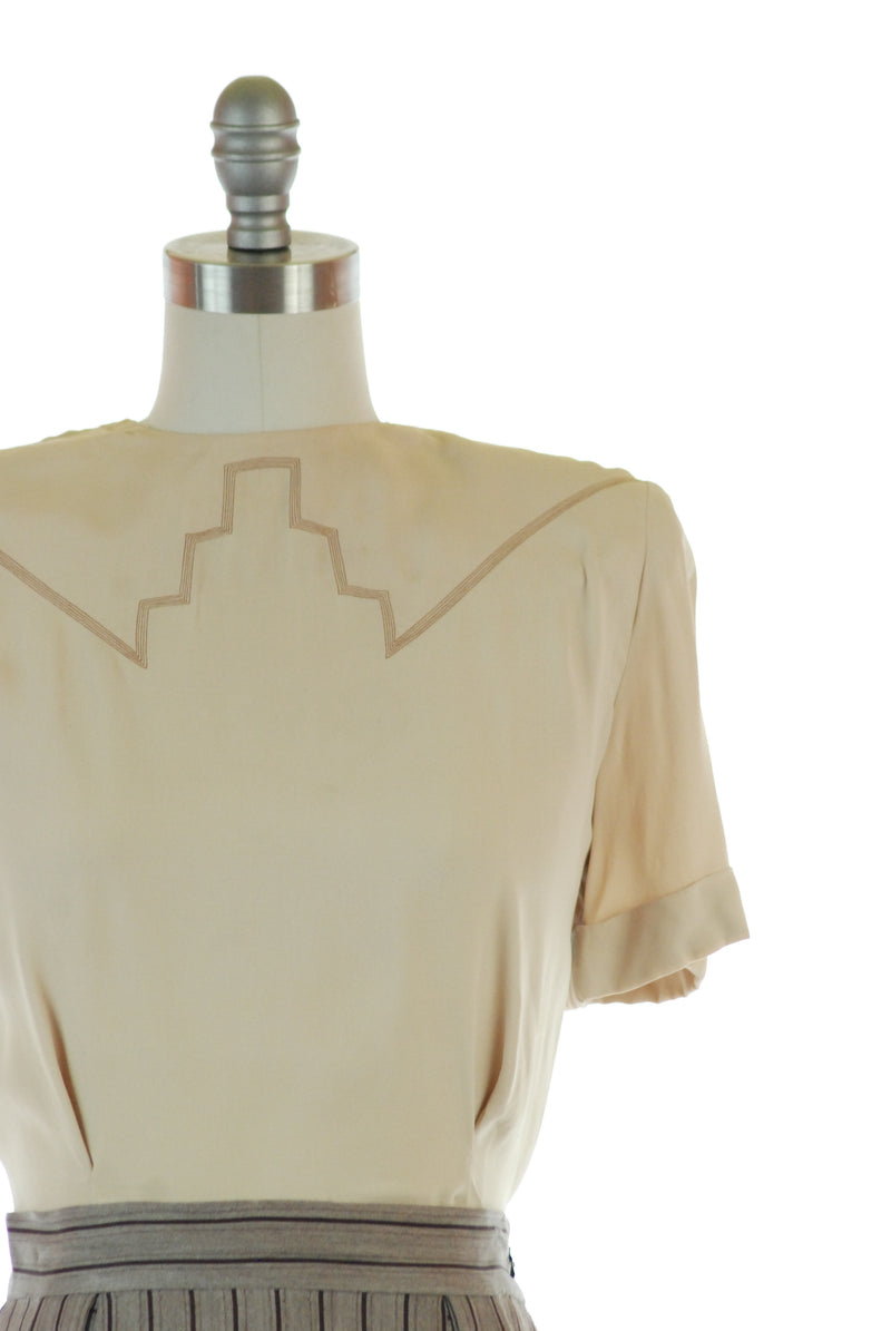 Rare 1940s Reversible Blouse - Mayehoff's Changeling Blouse with Zig Zag Closure