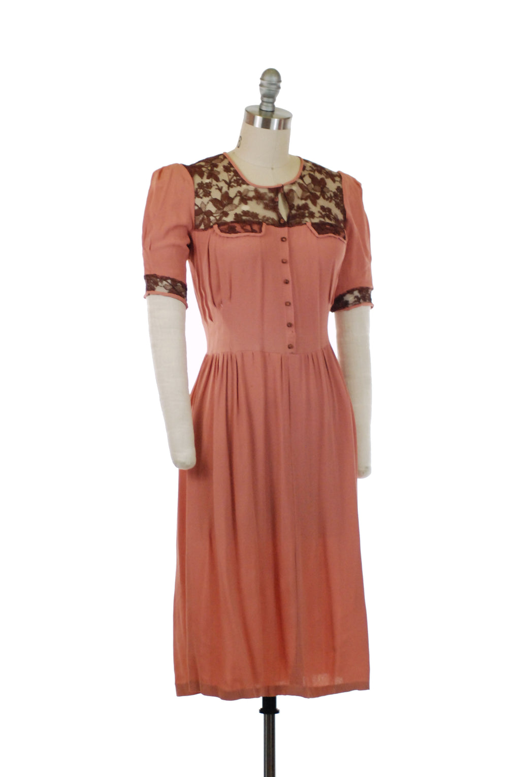 Lovely Late 1930s or Early 1940s Dress Set in Rose Pink Rayon with Brown Lace