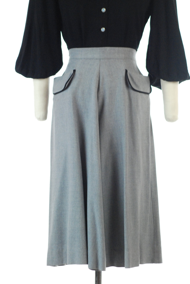 Fantastic Late 1940s Heathered Grey Gabardine Skirt with Hip Pockets