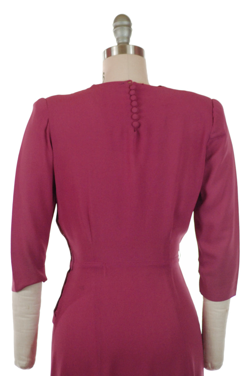 Foxy Vintage Late 1930s True Fuchsia Draped Rayon Crepe Dress with Hip Sash