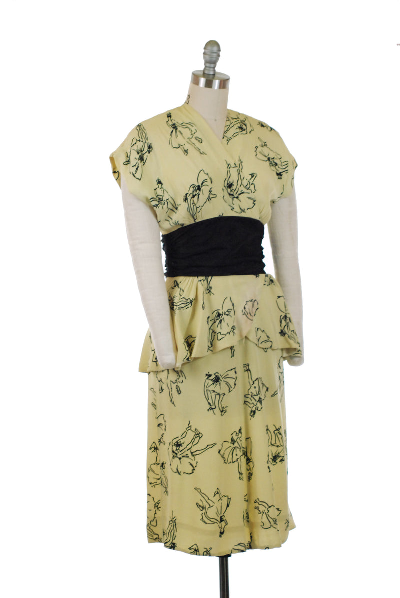 Sweet 1940s Pale Yellow Novelty Print Dress with Ballerina Motif and Black Ruched Midwaist AS IS