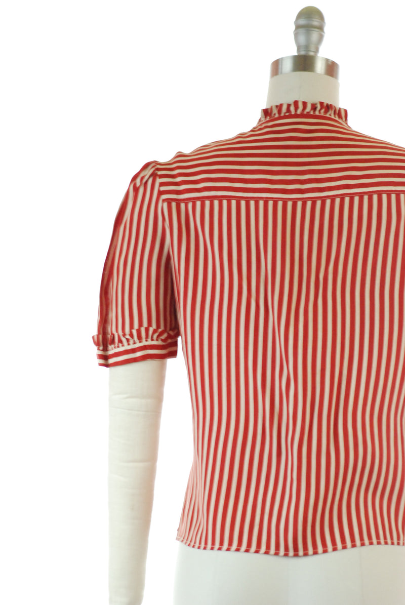 Cute 1940s Red and White Striped Summer Blouse with Puffed Sleeves and Ruffles