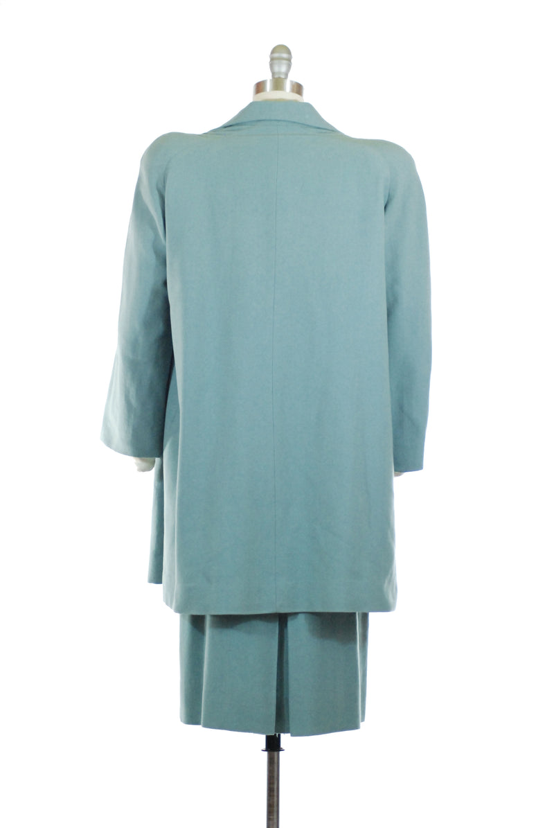 Gorgeous Muted Aqua 140s Three Piece Suit with Matching Swing Coat and Trapunto Accents by Redfern
