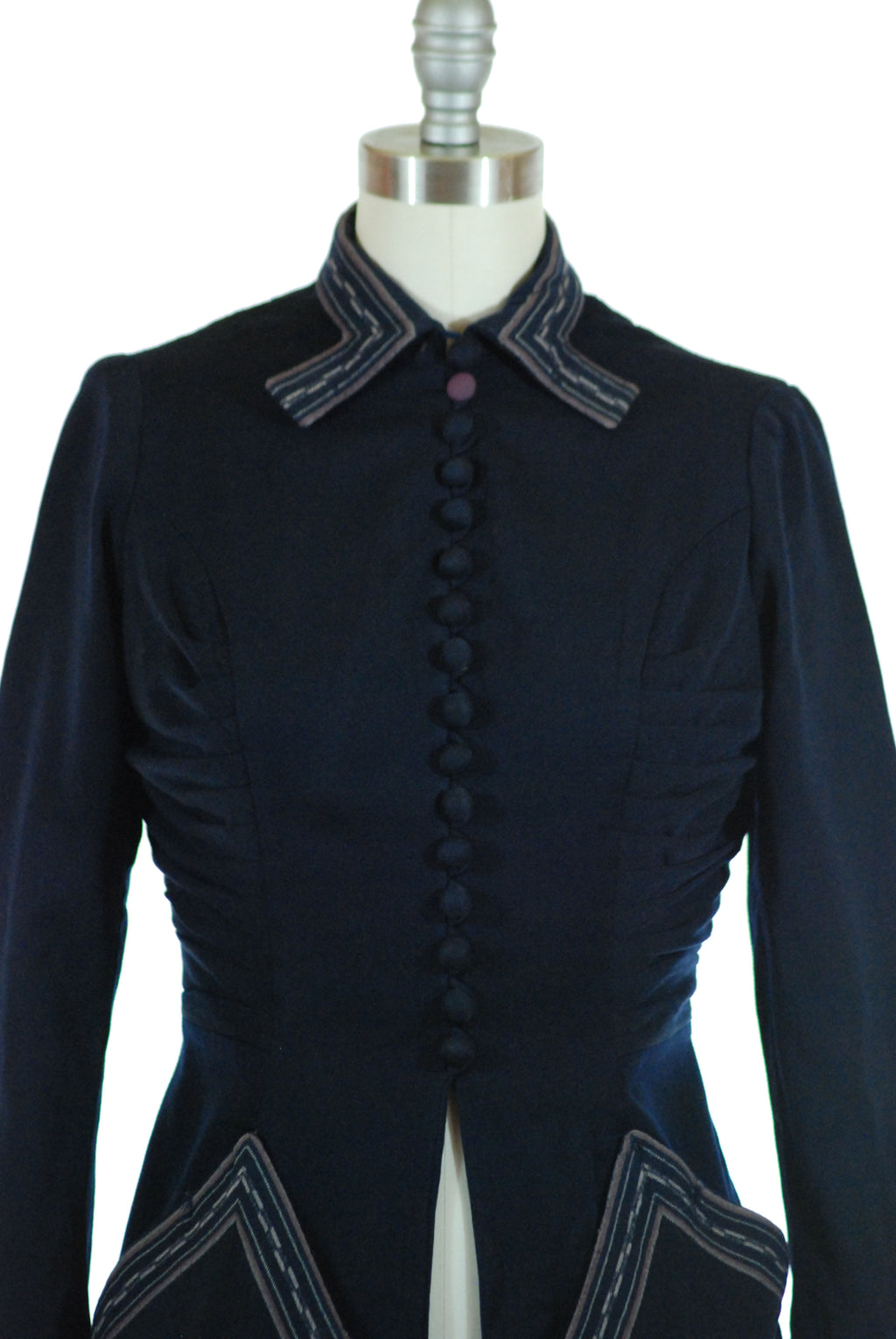 Smart 1950s Lilli Ann Tailored Jacket with Woven Trim As-Is