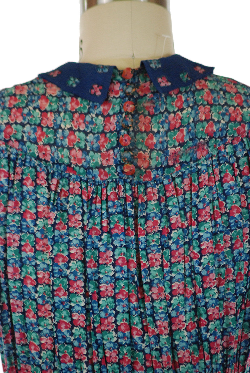 Cutest 1930s Puffed Sleeve Multi-Color Floral Dress with Dual Peaked Midwaist AS IS