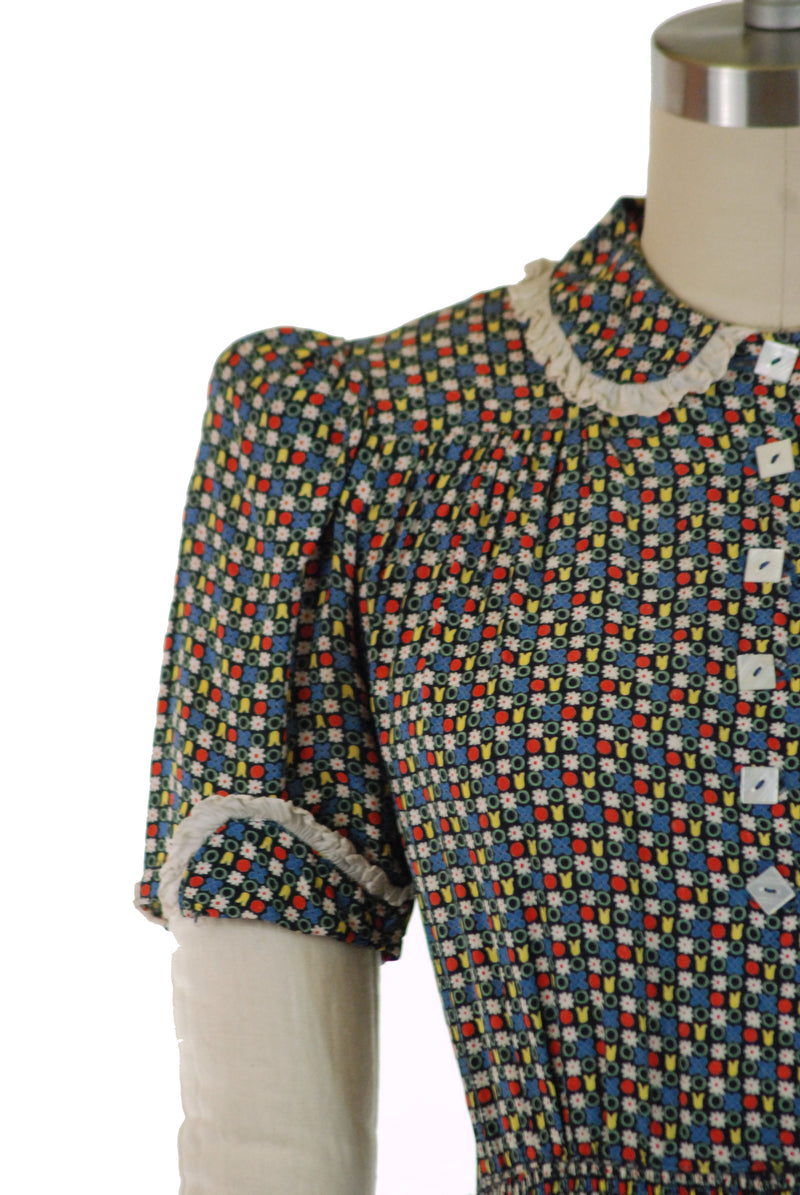 Sweet Late 1930s Cold Rayon Day Dress with Puffed Sleeves and Folkwear Inspired Floral