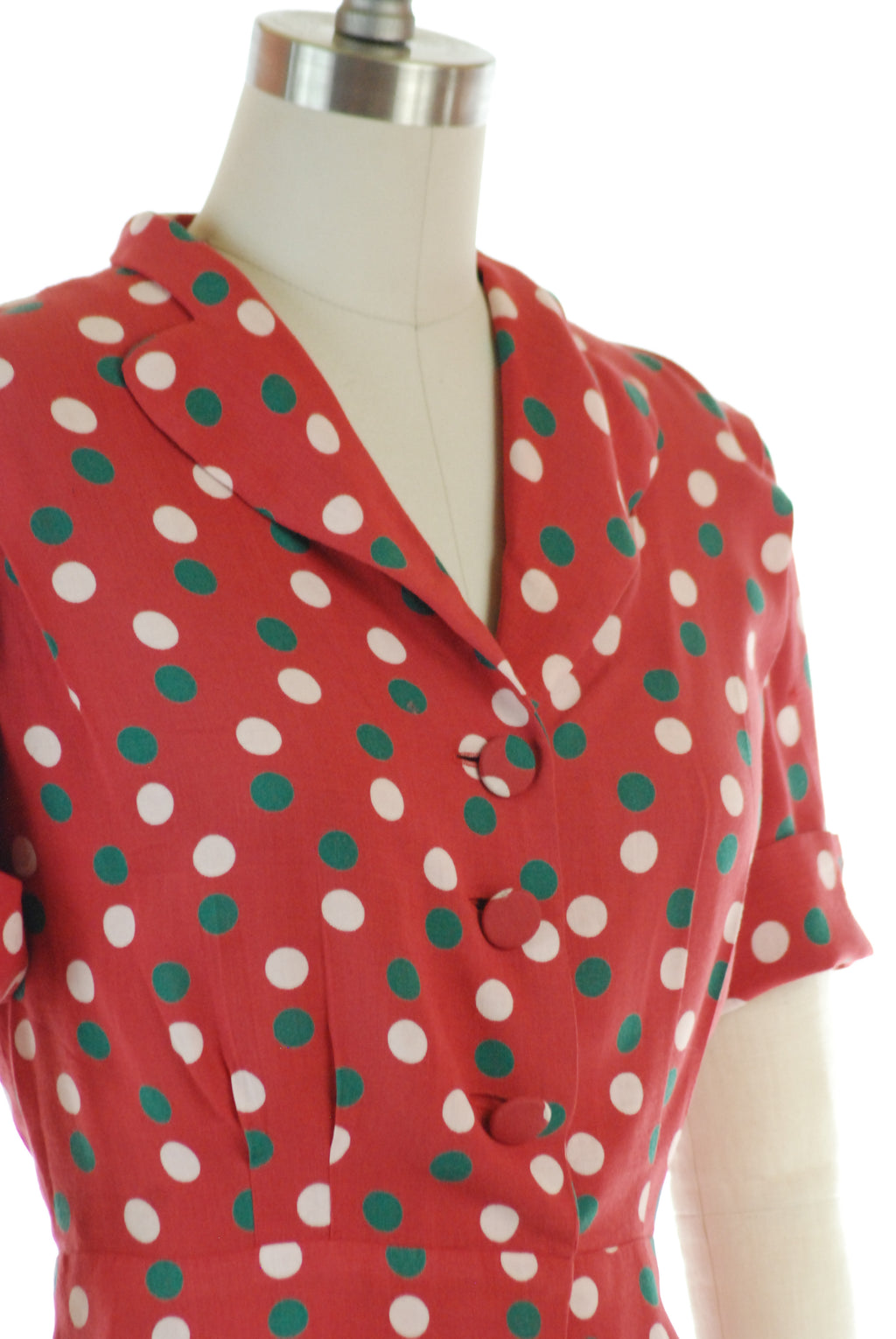 Cute Late 1940s Button Up Blouse in Red with Forest Green and White Polka Dots