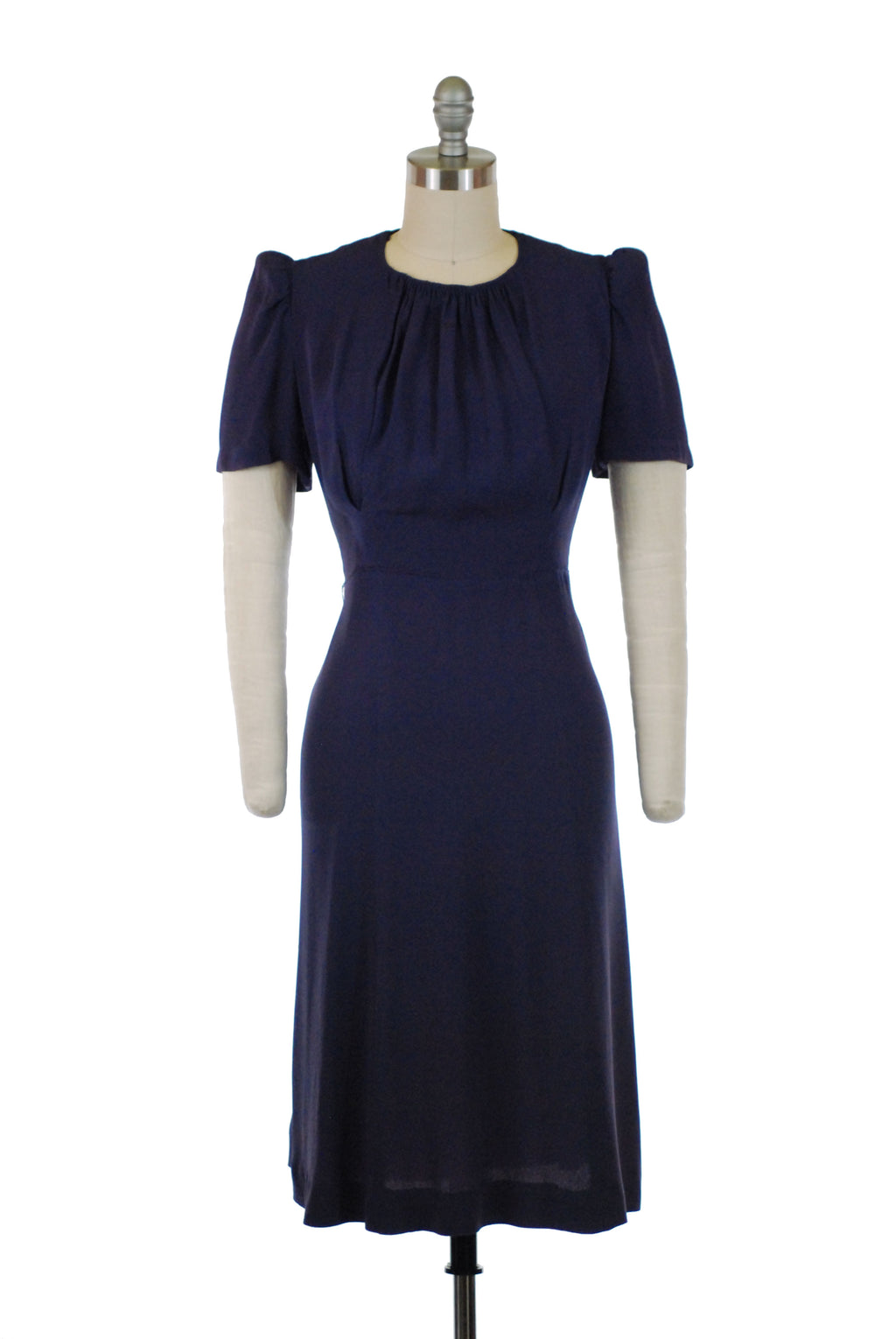 Chic Late 1930s Peaked Sleeve Dress in Purply-Navy Blue with Draping