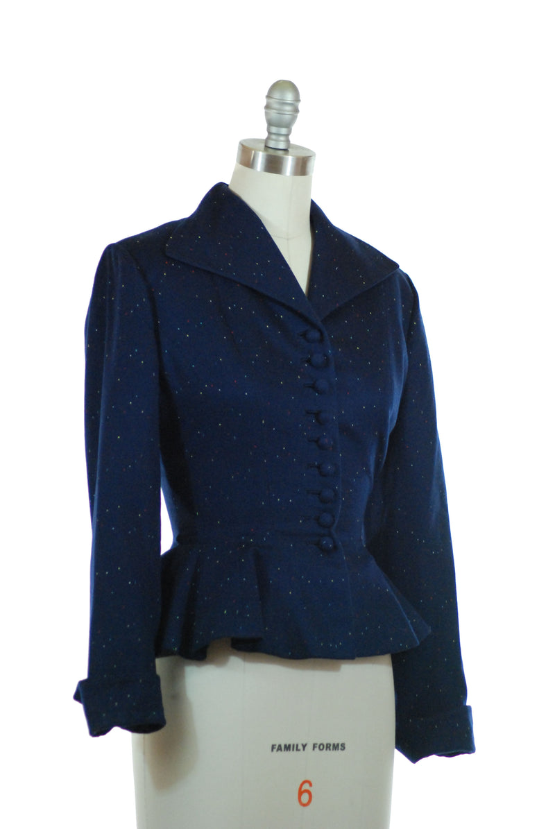 1950s Lilli Ann Fabric of France Wasp Waist Suit Jacket in Ultra Soft Cashmere-Wool with Colored Flecks