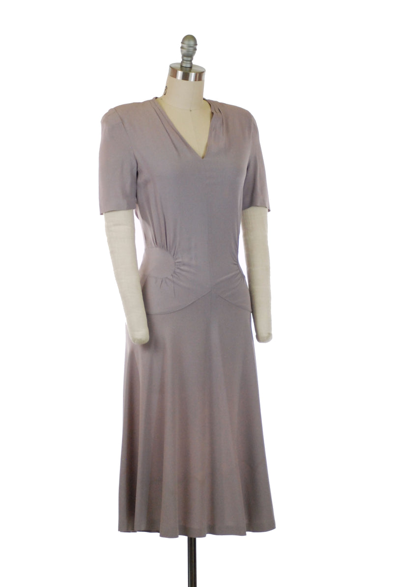 Lovely 1940s Lilac Rayon Crepe Dress with V Neckline and Clever Waist Accents