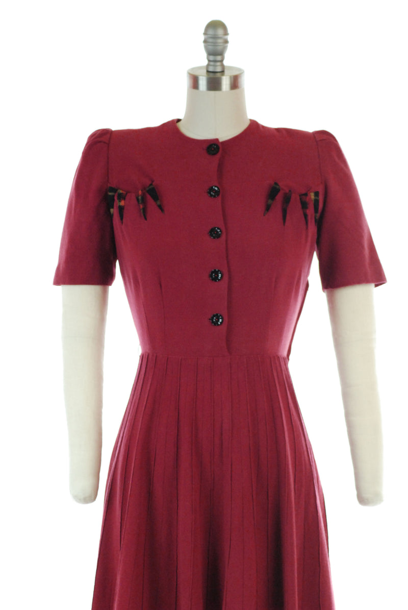 Smart 1940s Soft Raspberry Red Wool Day Dress with Puffed Sleeves and Pintucked Skirt