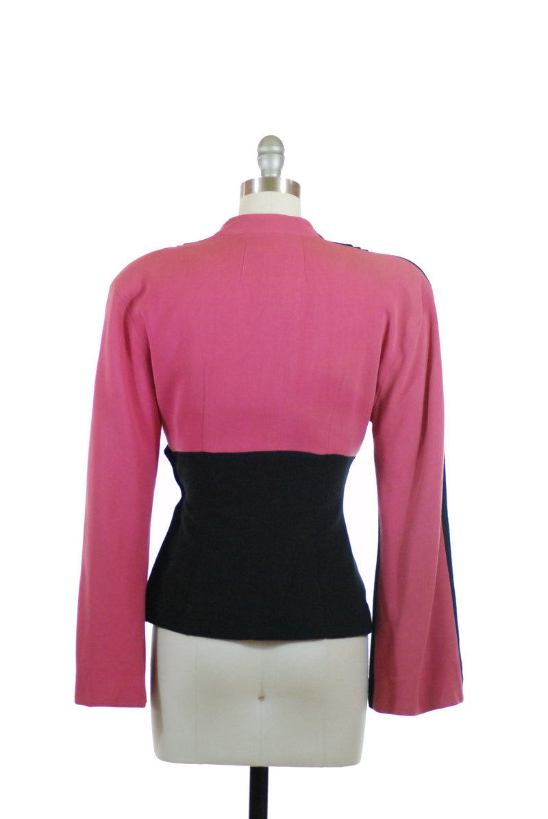 Rare 1940s Two Tone Lilli Ann Colorblock Jacket in Shocking Pink and Black