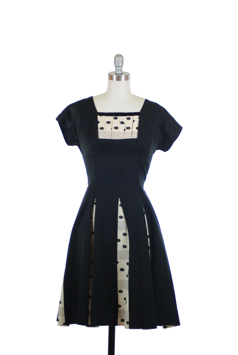 Charming 1950s Pique Day Dress in Black with Dotted Ivory Contrast