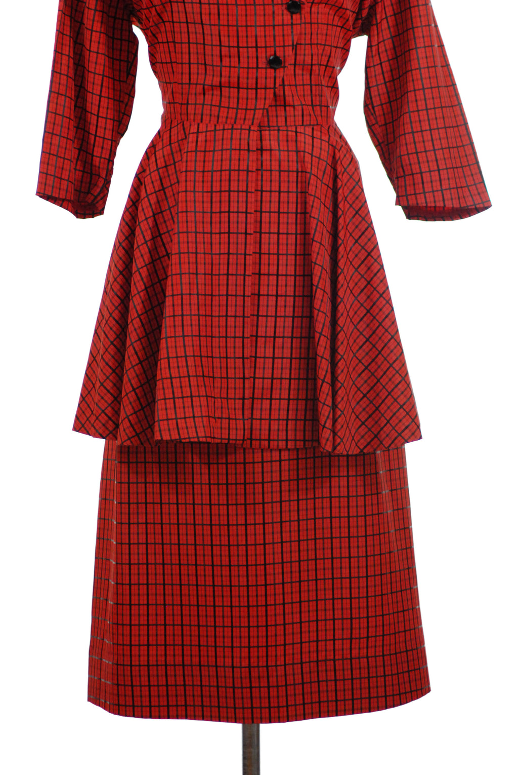 Smart 1950s Peplum Suit in Bright Red with Black Plaid