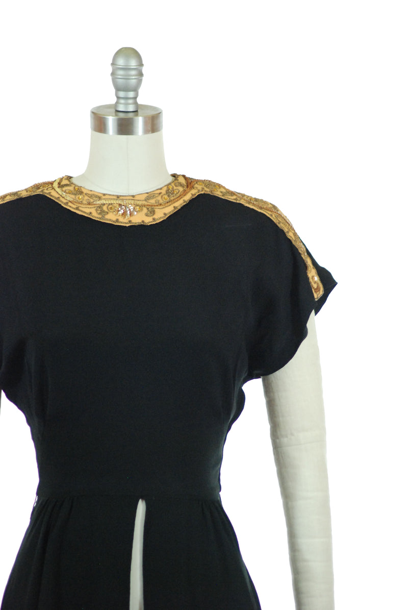 1940s Femme Fatale Evening Blouse with Divided Peplum and Mustard Trim