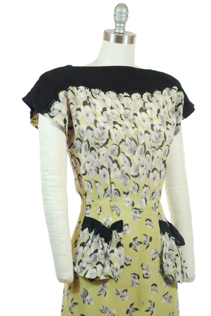 RESERVED on LAYAWAY Stunning 1940s Printed Rayon Mesh Day Dress in Chartreuse Floral with Black Accents