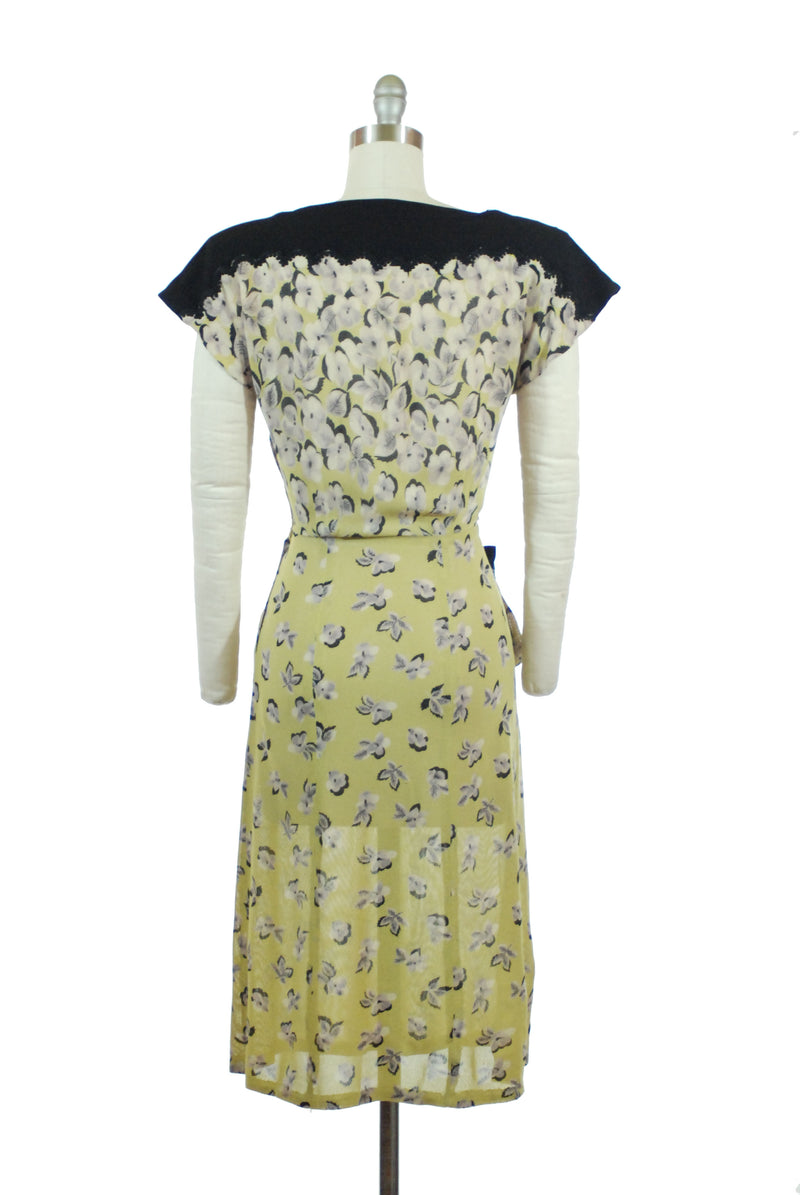 LAYAWAY DEPOSIT for Stunning 1940s Printed Rayon Mesh Day Dress in Chartruese Floral with Black Accents