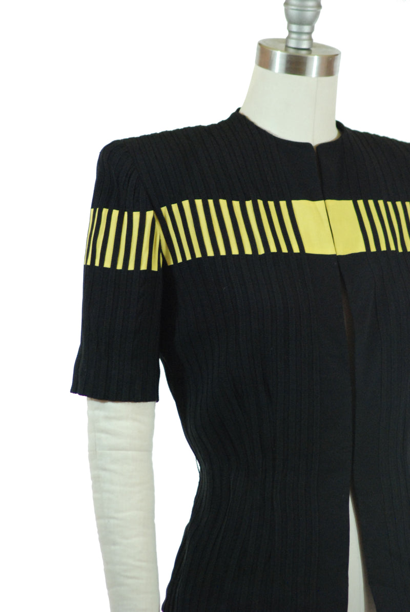 Fantastic 1940s Colorblock Short Sleeved Jacket of Black and Chartreuse Stripes