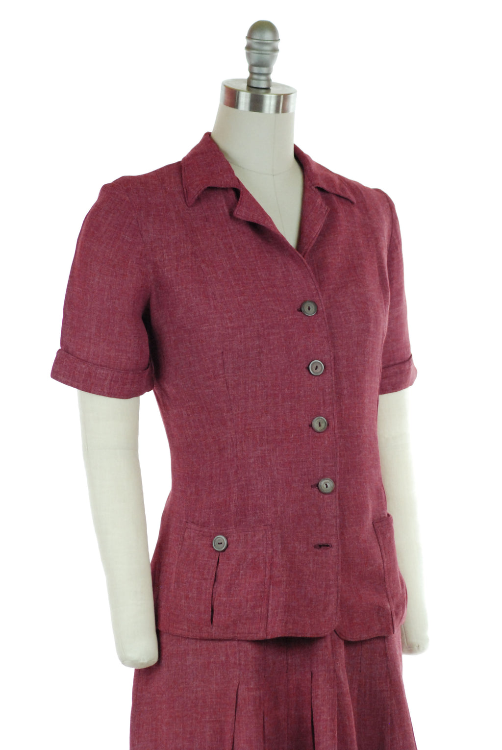 Sporty Early 40s Two Piece Skirt and Top Set in a Silk Wool Blend of Heathered Plum