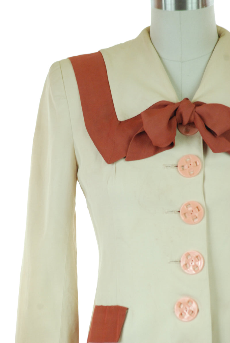 Charming 1940s Two Piece Two Tone Suit in Sandy and Sienna with Sailor Collar