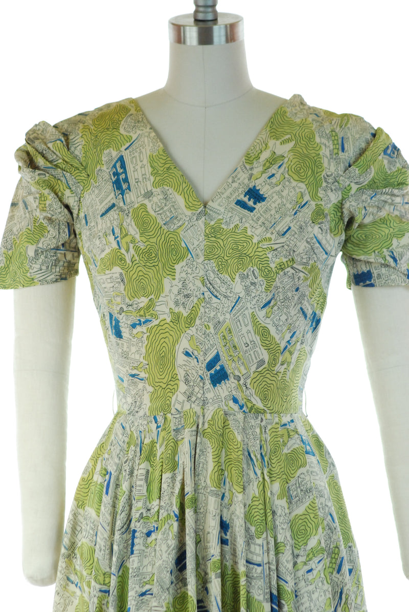 RESERVED ON LAYAWAY Gorgeous Late 1940s Novelty Print Silk Dress with Bias Cut Skirt