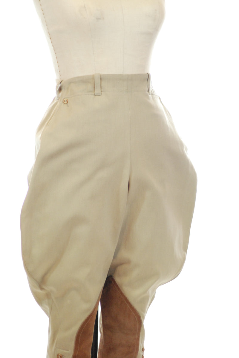 Smart 1940s Jodhpurs in Heavy Khaki twill with Suede
