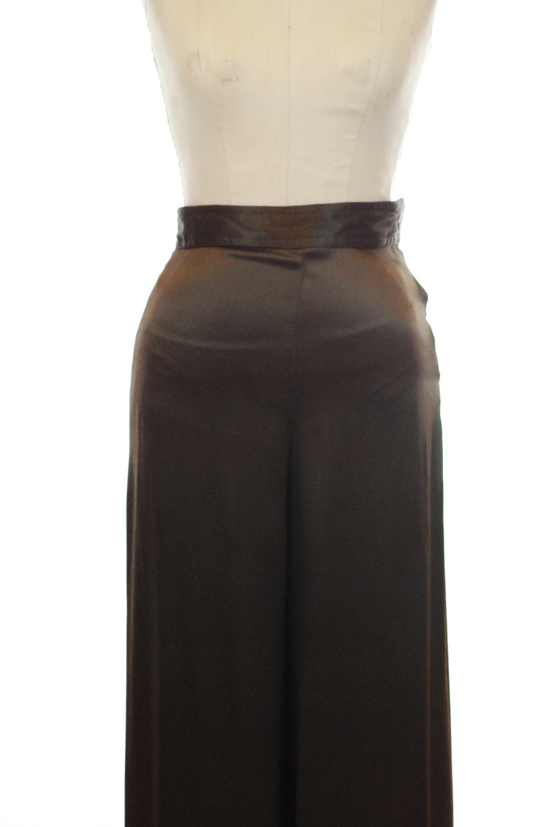 Exquisite 1930s Hammered Satin Trousers or Evening Pants in Dark Brown