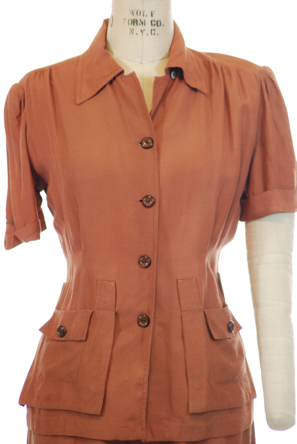 Classic 1940s Sportswear Pantsuit in Pinkish Clay Brown Hollywood Creations by Polly Pierce