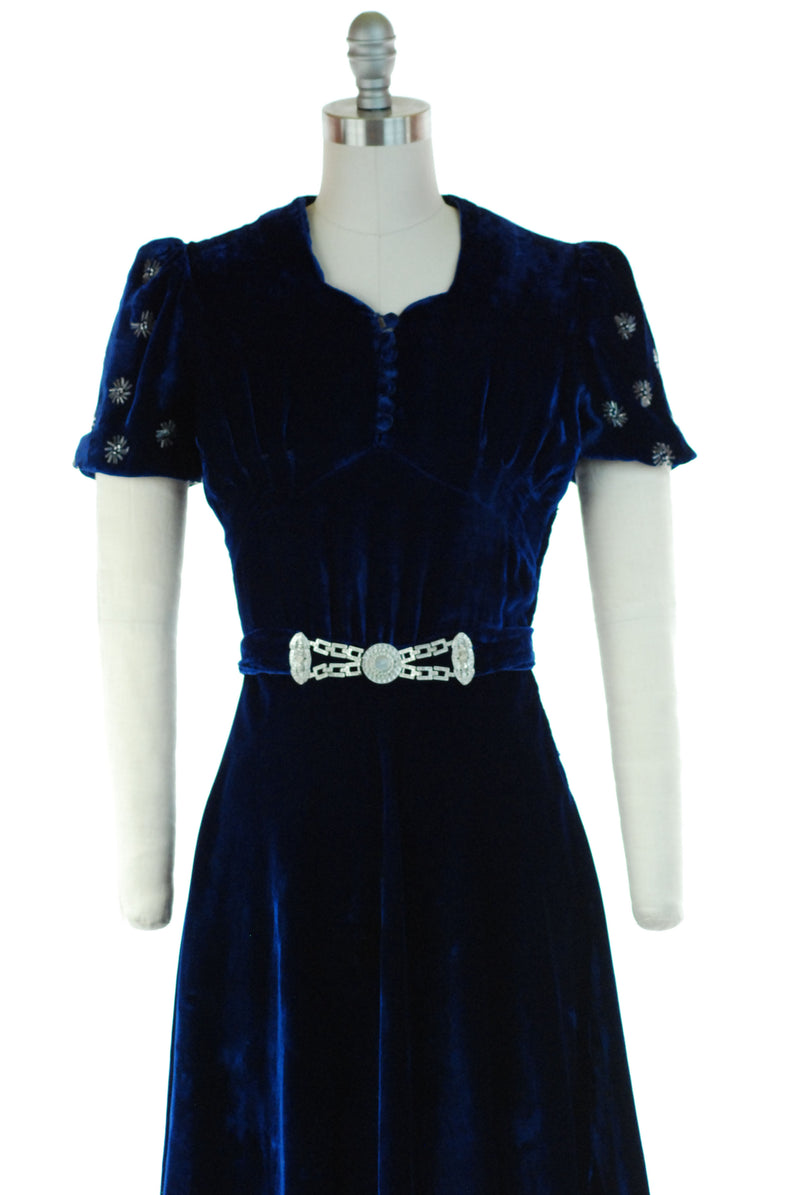 Fantastic 1930s Cobalt Blue Cocktail Dress with Beaded Puff Sleeves and Killer Belt