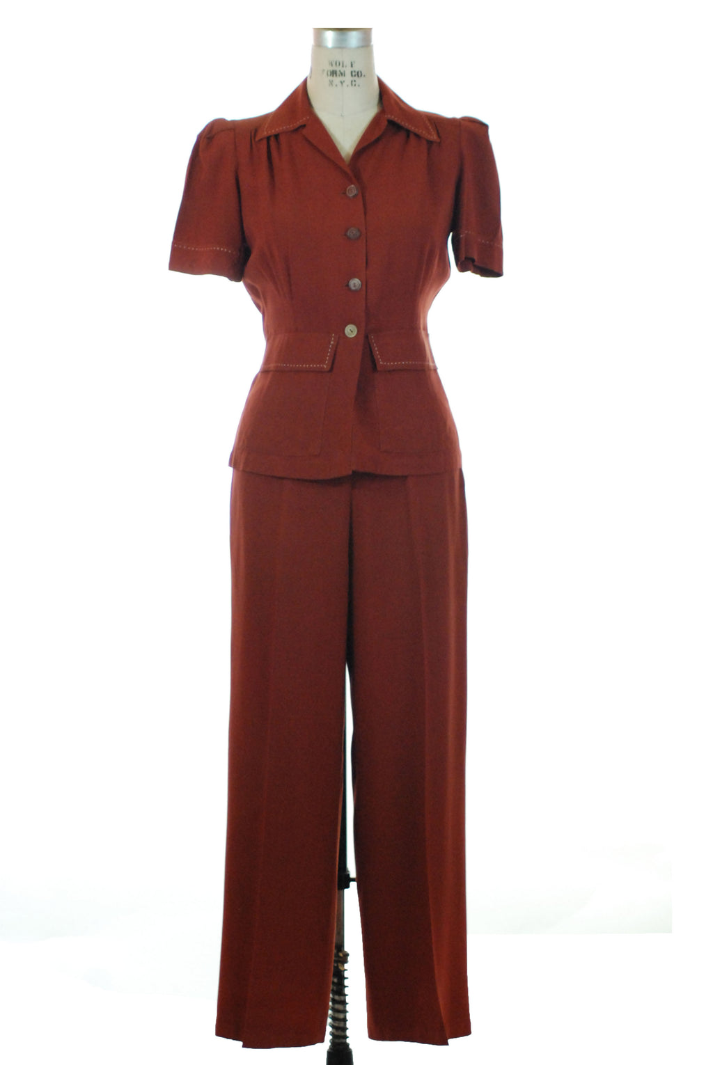 Killer 1940s Sportswear Pantsuit in Rust Brown with Top Stitching by Rochelle of Hollywood