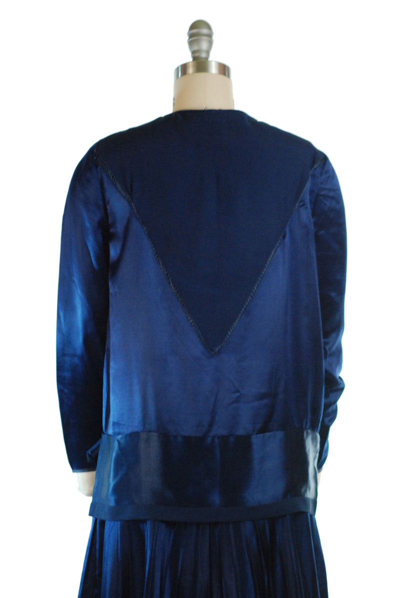 Glorious 1920s Dress in Cobalt Blue Silk Charmeuse with Drop Waist and Pleated Skirt