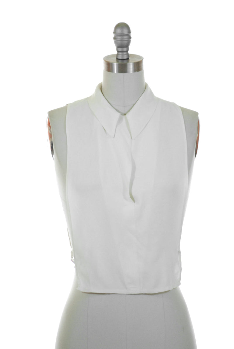 1930s White Rayon Dickie (Faux Blouse) with Loop Collar
