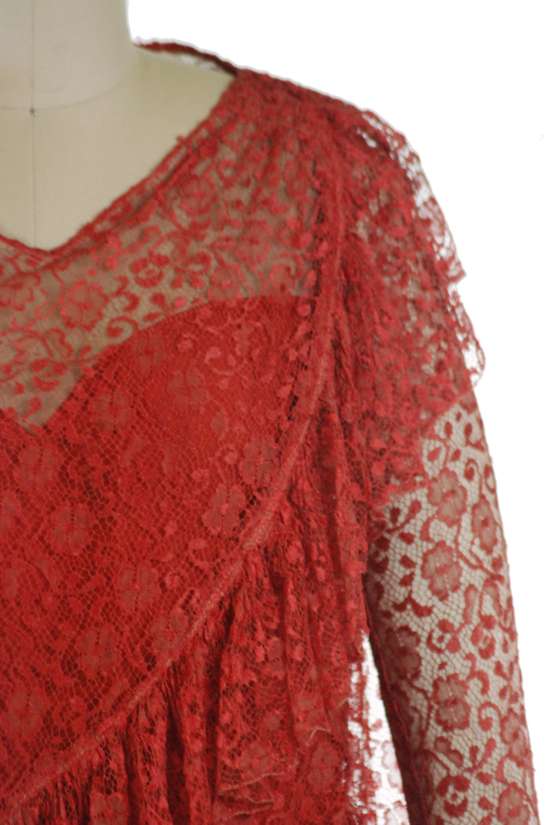 Saucy 1920s Flapper Dress of Red Tiered Lace with Asymmetric Accents and Shirred Sleeves