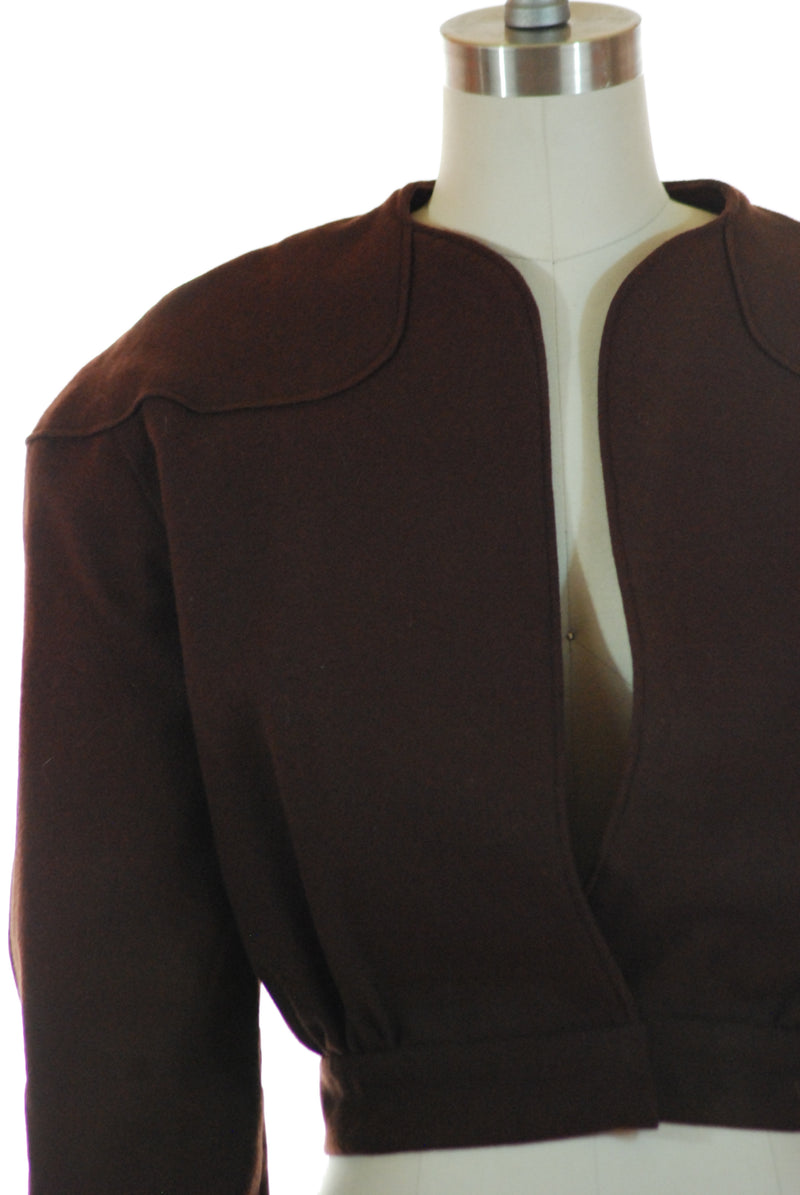 Sporty Homemade 1940s Cropped Wool Jacket in Chocolate brown
