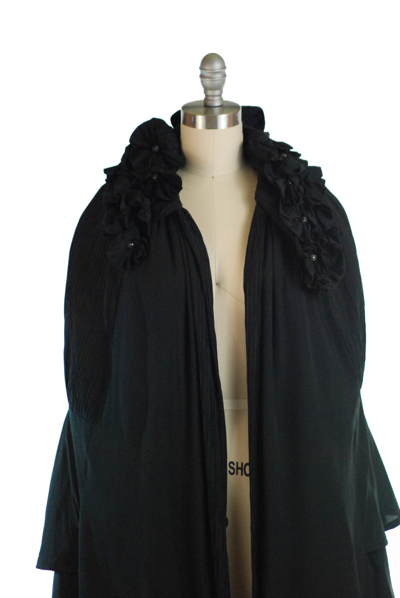 Incredible 1920s Silk Evening Cape with Three Dimensional Flowers and Dramatic Pintucks