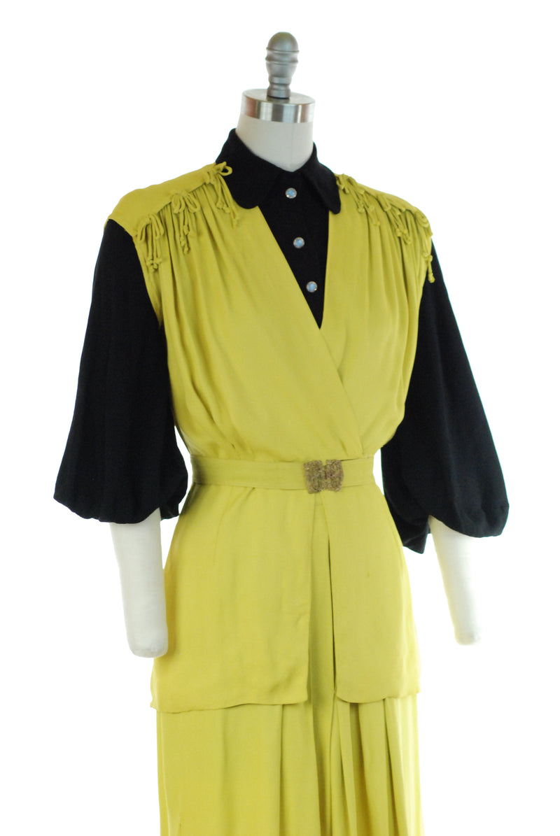 Bold Late 30s Chartreuse 2 Piece Ensemble with Wrap Style Blouse and Pleated Skirt