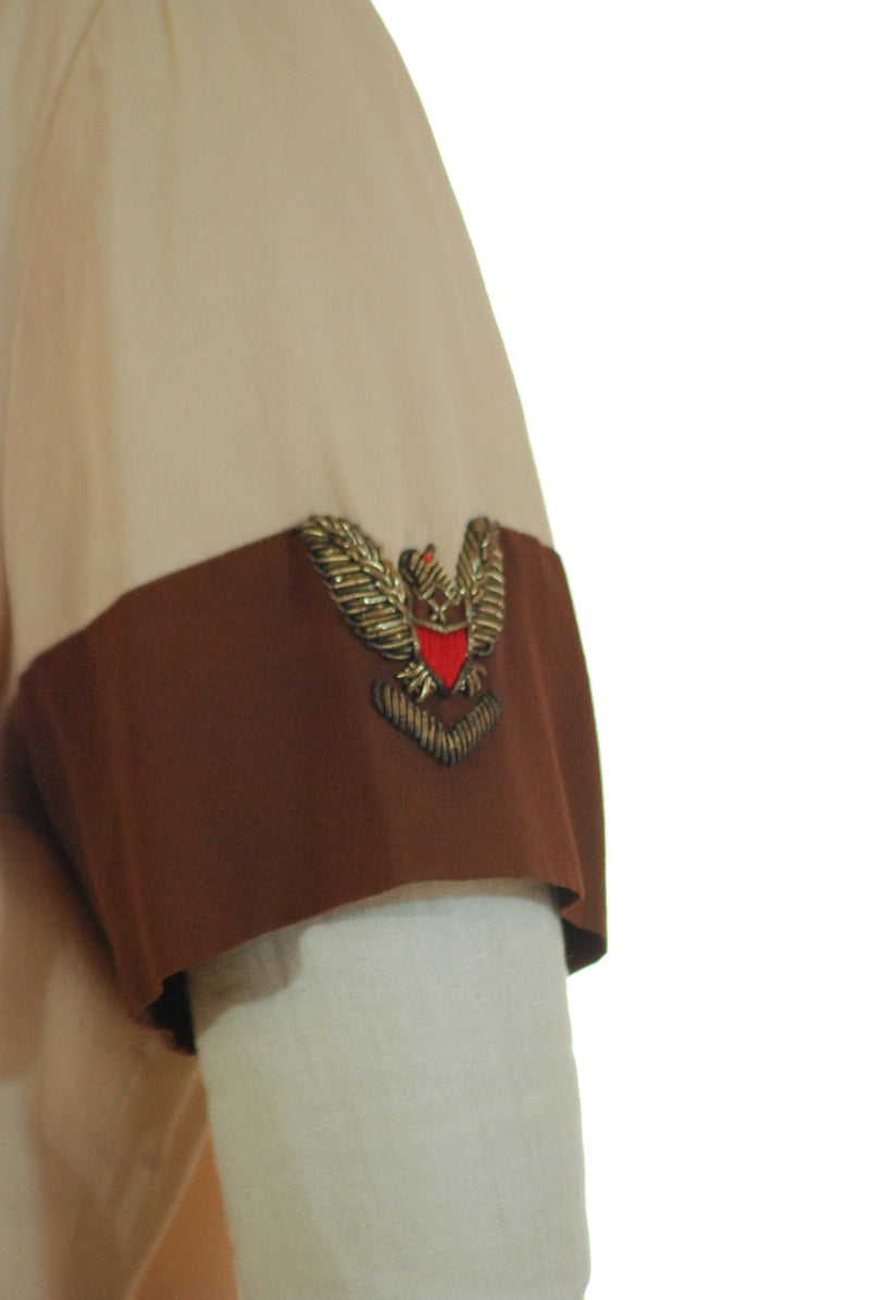 Fantastic 1940s Military Inspired Blouse with Bullion Eagle on Sleeve