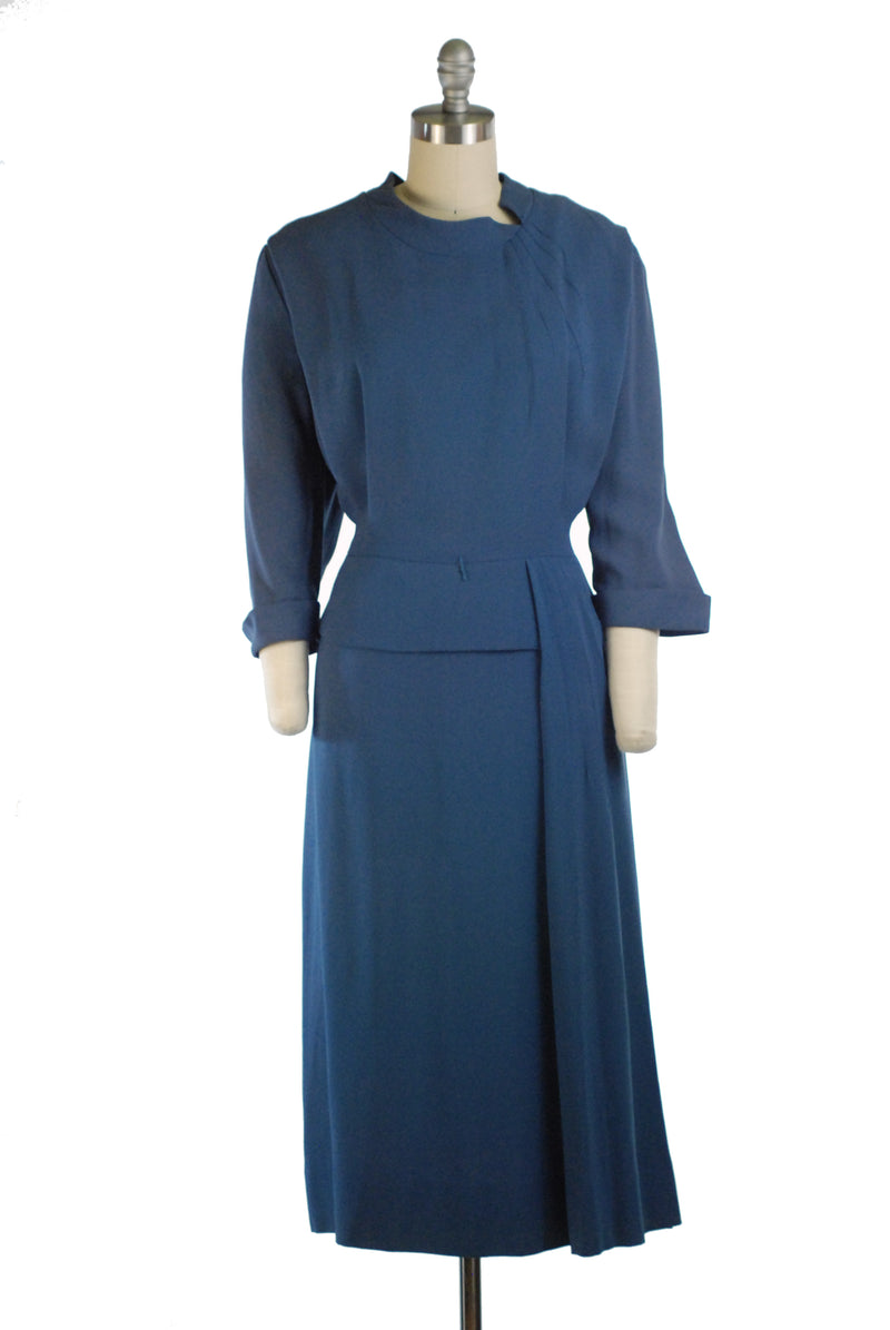 Curvy 1950s Rayon Day Dress with Side Draping in Cornflower Blue Volup Plus Size