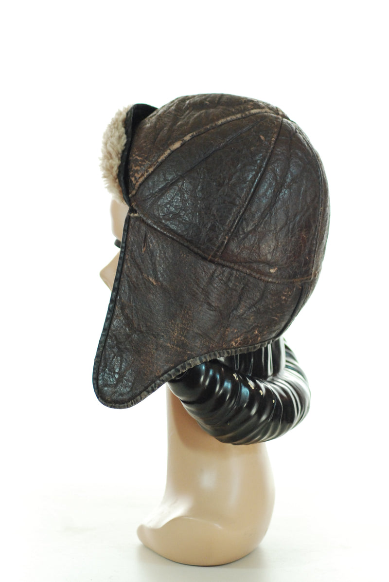 Charming 1940s Aviators Cap in Warm Shearling Leather