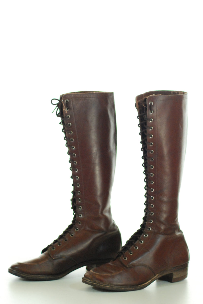 RESERVED on LAYAWAY Rare 1930s Rich Brown Lace Up Boots Size 6.5 or 7