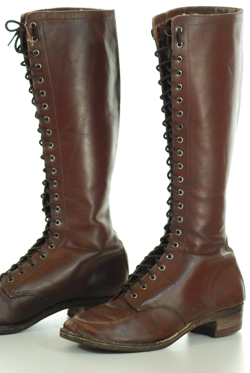 Layaway Deposit for Rare 1930s Rich Brown Lace Up Boots Size 6.5 or 7