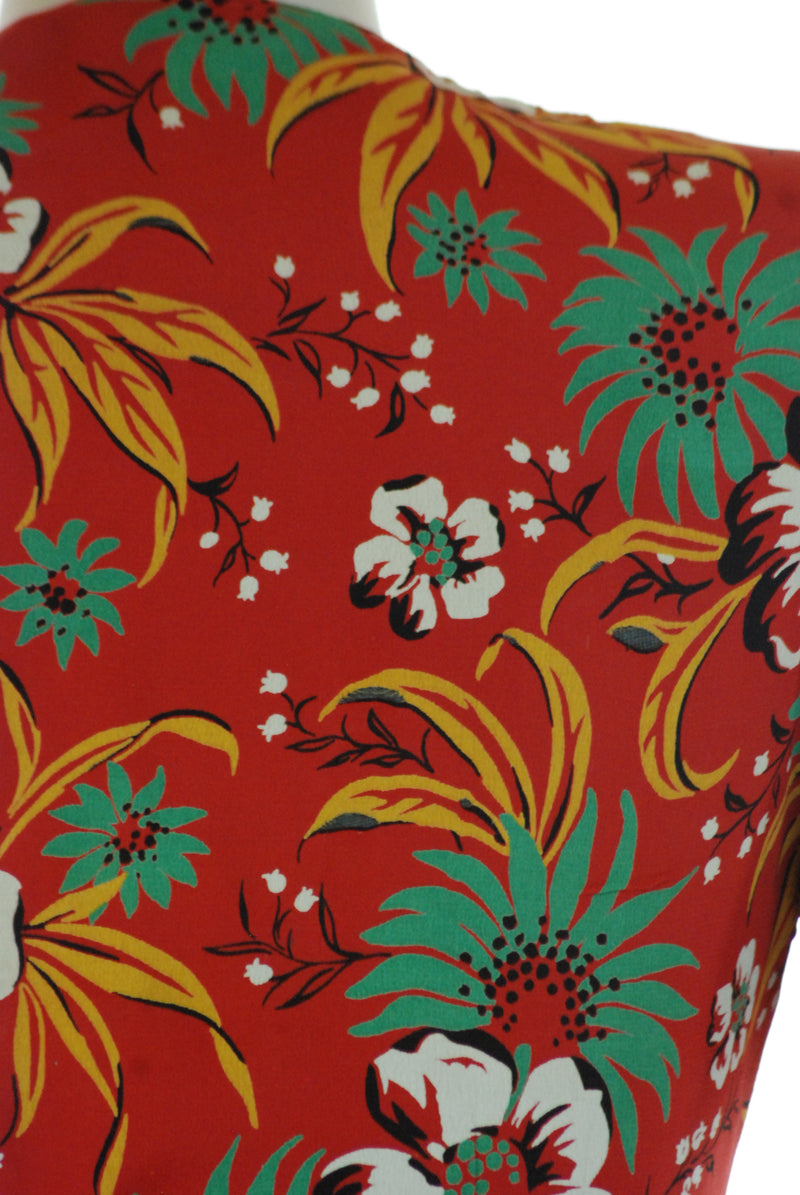 Bold Late 30s Red Tropical Print Rayon Crepe Day Dress with Pleated Peplum, As Is