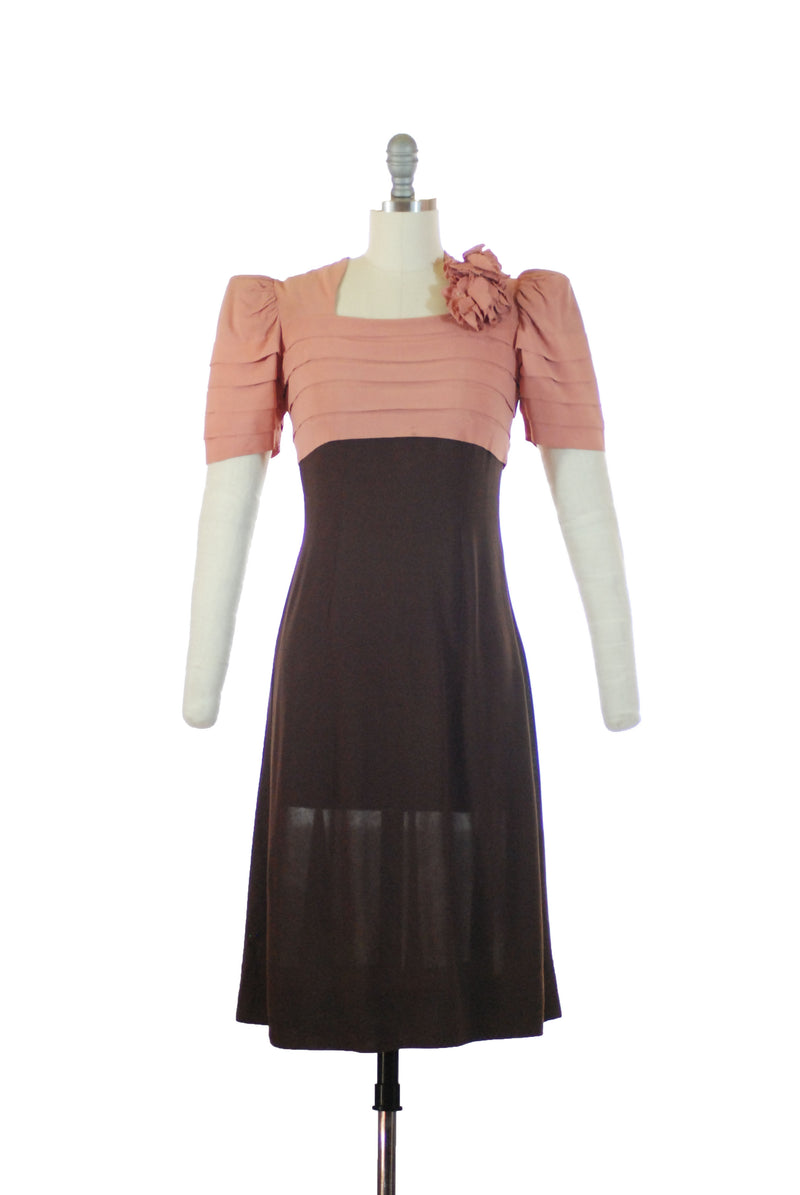 RESERVED on LAYAWAY Fantastic Rare Late 1930s Colorblock Juniors Dress in Rose Pink and Chocolate Brown